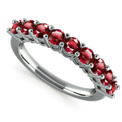 Natural 0.98 Ct Stunning Ruby Gemstone Eternity Band Solid 14k White Gold Size 7