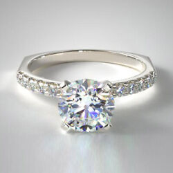 Real 0.70 Ct Diamond Wedding Rings For Women Solid 14k White Gold Ring Size 7 8