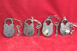 4 Pc Lock And Keys Handcrafted Solid Iron Brass Old Antique Collectibles Pw-85