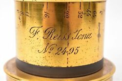 Vintage Lens In Brass, Rectilinéaire Balanced For F. Reiss Jena