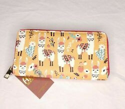Llama Printed Wallet Faux Leather Zip Around Wrap Around Print Gift Womens $15.29