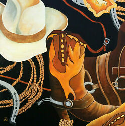 Original Painting Western Rodeo Hat Boot Saddle Rope Buckle Acrylic 24x24 Signed