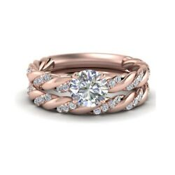 0.82 Ct Natural Diamond Anniversary Bands Set Solid 14k Rose Gold Size M N O P