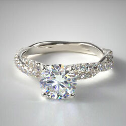 1.13 Ct Real Stunning Diamond Anniversary Ring Solid 14k White Gold Size 5 6 7 8