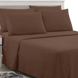 6 Piece Bed Sheet Set 1800 Count Egyptian Hotel Quality Deep Pocket Plain Sheets