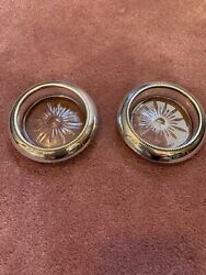2 Frank M. Whiting Sterling Silver And Pressed Glass Wine Bottle Coasters C1940