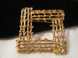 Vintage Gt Rustic Twig Branch Brooch Pin Unique Square Tiered Dsgn Gr8t Detail