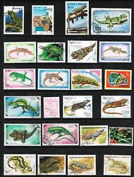 36 Diff Lizards Salamanders Geckos Iguanas Chameleon on Used Stamps 14 Countries