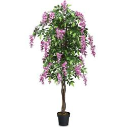 NEW 6-Feet Wistera Silk Flower Leaf Tree Plant Pot Artificial Indoor-Outdoor