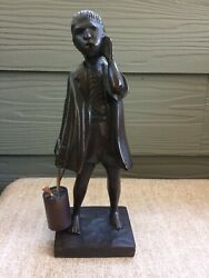 Vintage 1960's Wood Carving / Man With Bucket / Brazil