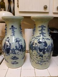 Fine Unmatched Pair 19th C Qing Chinese Blue And White On Celadon Ground Vases