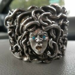 Rebecca Collins Sterling Silver Medusa Cuff With Turquoise Eyes