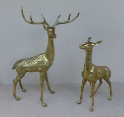 1970's Life-size Highly Detailed Brass Male And Female Deer Room Decor