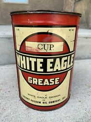 Vintage White Eagle Grease Tin Socony Oil Company Can