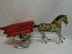 1911 Antique Gibbs Mfg Co Pacing Bob Horse Cart Wagon Articulated Pull Toy