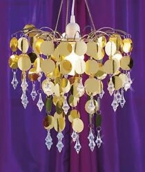 Beaded Chandelier Lamp Chic Cascading Metallic Sequined Hanging Sparkle Accent