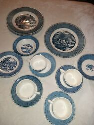Vtg Royal China Cavalier Ironstone Blue And White Dinner Plate And More Huge Lot