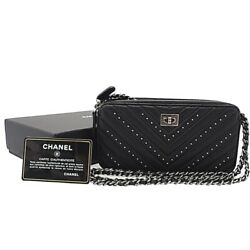 Leather V Stitch 2.55 Chain Clutch Long Wallet