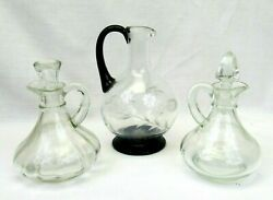 3 Glass Cruets Vintage Oil Vinegar Bottles Pitchers With Stoppers Etched Lot