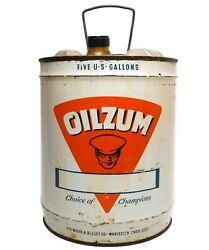 Oilzum Vint Litho'd Enamel 5 Gallon Fuel Can The White And Bagley Co Worcester, Ma