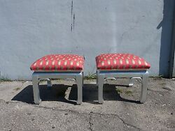 Pair Mid Century Hollywood Regency Chinoiserie James Mont Style Foot Stools