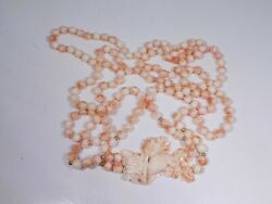 Fine Long Double Strand Angel Skin Coral Necklace With Bird Pendant