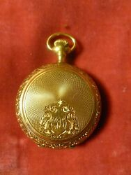 Fine Antique 14 K Gold Lady Waltham Ladies Chased Closed Case Pocket Watch