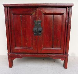 19th C Chinese Coromandel Red Peasant Cabinet W Bold Iron Pulls And Gilt Paint P