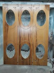 1940and039s Grosfled House Hollywood Regency Iron And Wood Folding Screen