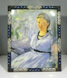 Large Jay Strongwater Ornate Enamel And Pave Crystal Picture Frame 2