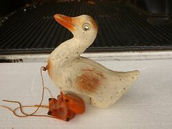Early Wood And Composition Duck Pull Toy With Glass Eyes