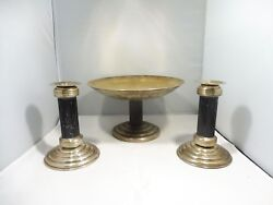 Sterling Silver Art Deco Style Bowl With Matching Candlesticks 25 Troy Oz