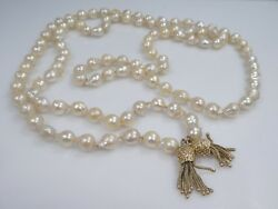 `47 Inch Strand Of Baroque South Sea Tahitian Pearl Necklace W 14k Gold Tassels