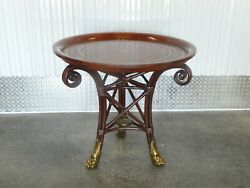 Neoclassical Maitland Smith Leather Top Table With Bronze Hairy Paw Feet