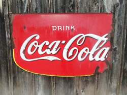 Drink Coca-cola Double Sided Porcelain Storefront Hanging Sign Dated 1935