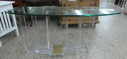 1970and039s Architectural Staggered Pillar Lucite And Brass Console Table