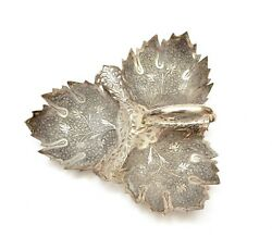 Old Persian Solid Silver Leaf Shaped Handle Serving Dish Plate Tray