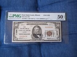 1929 50 East St Louis Illinois Il National Currency T1 11596 1st National B