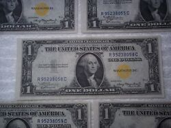 1935 1 Silver Certificate Yellow Seal North Africa 3+2 Consecutive Unc 5 Notes