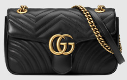 Gucci Marmont Small Black Leather Matelasse Gold Chain Shoulder Crossbody Bag $1,887.75