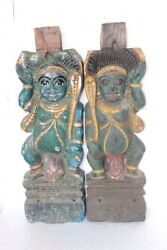 Wooden Watchman Panel Pair 1900s Old Vintage Rare Carved Z-46