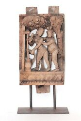 Wooden Panel Couple Erotic 1900 Old Vintage Home Decor Antique Collectible Q-55