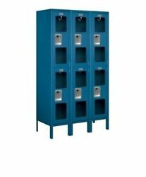 12 Wide Double Tier See-through Metal Locker - 3 Wide - 5 Feet High - 15 Inches