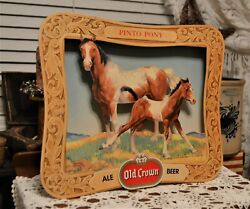 Rare Pinto Pony Old Crown Ale Beer Advertisement In Cardboard Shadow Box 1960and039s