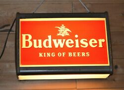 Extra Rare Vintage Budweiser Lighted Sign Hang Or Counter Top Metal 21 X 14.5