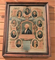 Auth 1876 Distinguished Masons Of The Revolution Lithograph Pettibone Mfg Oh