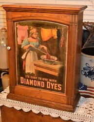 Classic Diamond Dyes Store Counter Display Cabinet Org Woman Dyeing Cloths Tin