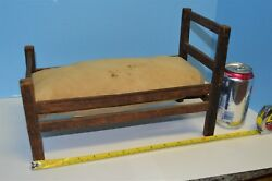 Antique Primitive Hand Carved Slatted Child's Doll Bed Hand Sewn Straw Mattress
