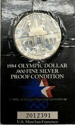 1984 Olympic Silver Proof Dollar Official Us Coin Holder Commemorative Coin