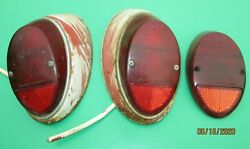 1960's Vw Type 1 Beetle Bug Hella Tail Light Tail Lamp Lens Assembly's Used Oem